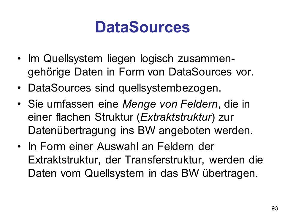 DataSources Im Quellsystem liegen logisch zusammen-gehörige Daten in Form von DataSources vor. DataSources sind quellsystembezogen.