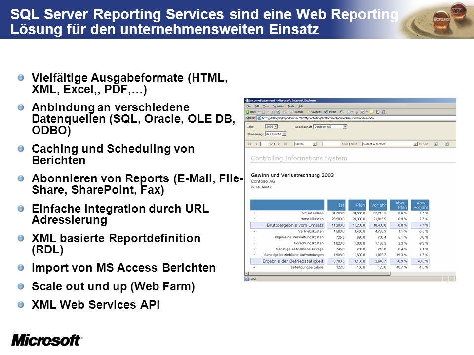 SQL Server Reporting Services sind eine Web Reporting Lösung für den unternehmensweiten Einsatz