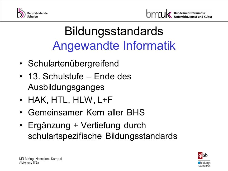 Bildungsstandards Angewandte Informatik