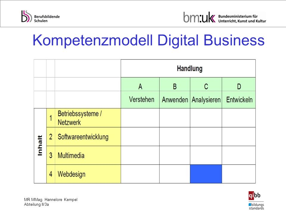 Kompetenzmodell Digital Business