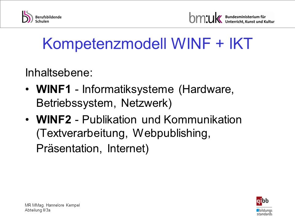 Kompetenzmodell WINF + IKT