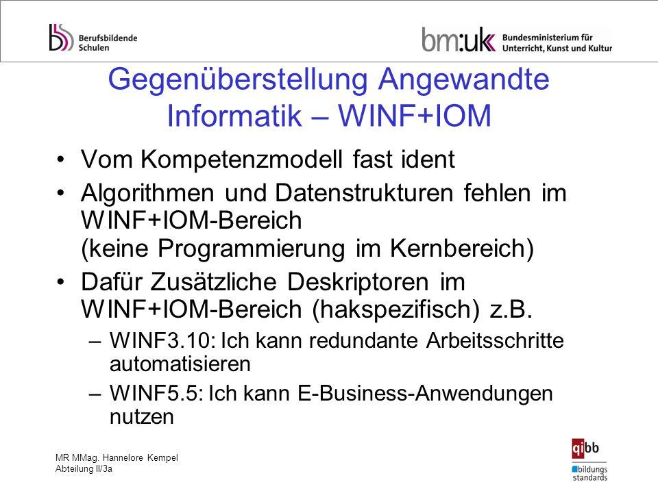 Gegenüberstellung Angewandte Informatik – WINF+IOM