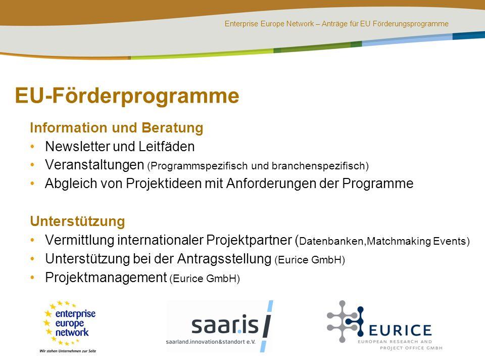 EU-Förderprogramme Information und Beratung Unterstützung