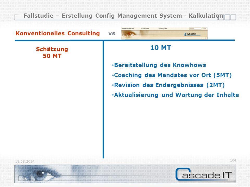 Fallstudie – Erstellung Config Management System - Kalkulation