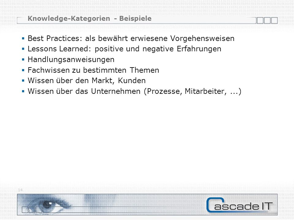Knowledge-Kategorien - Beispiele