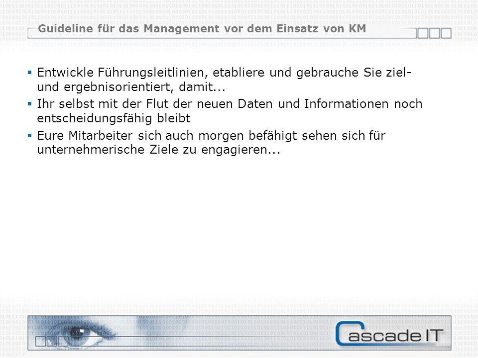 Guideline für das Management vor dem Einsatz von KM