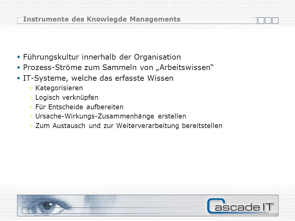 Instrumente des Knowlegde Managements