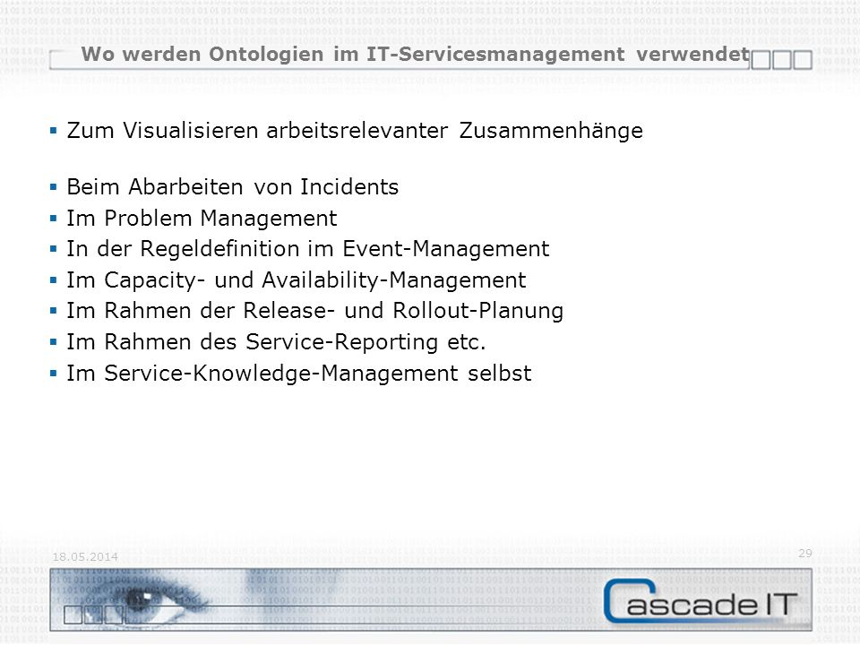 Wo werden Ontologien im IT-Servicesmanagement verwendet