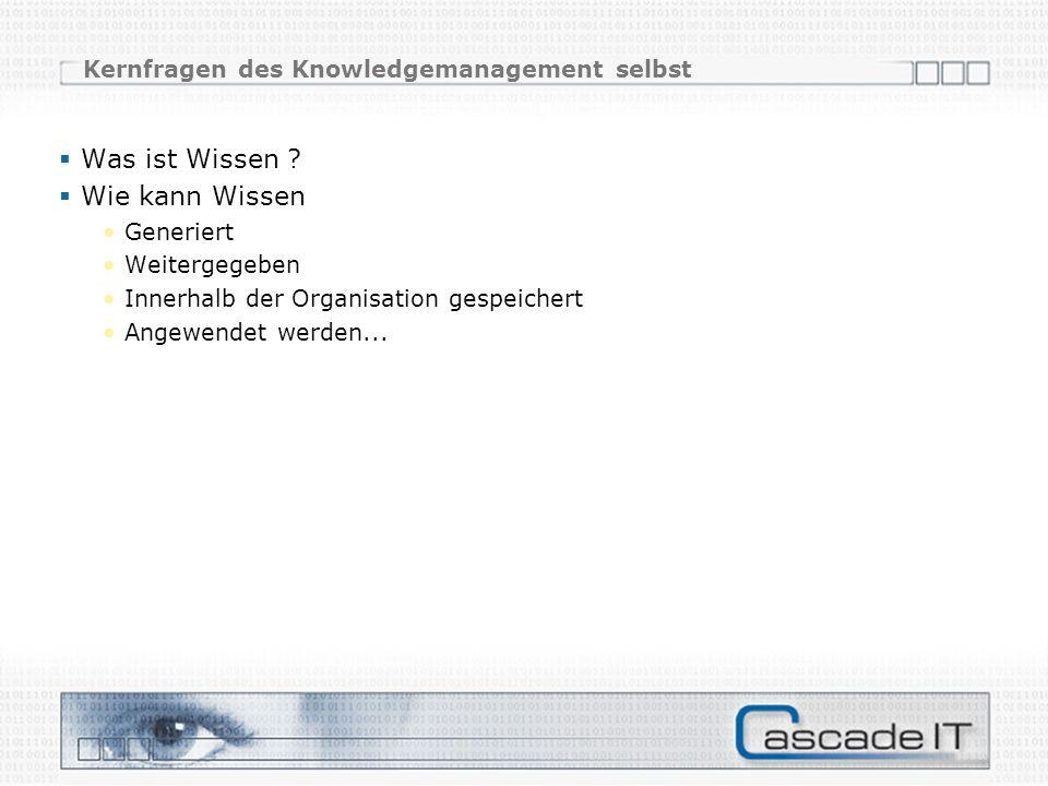 Kernfragen des Knowledgemanagement selbst