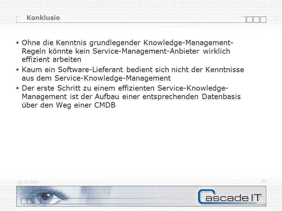 Konklusio Ohne die Kenntnis grundlegender Knowledge-Management-Regeln könnte kein Service-Management-Anbieter wirklich effizient arbeiten.