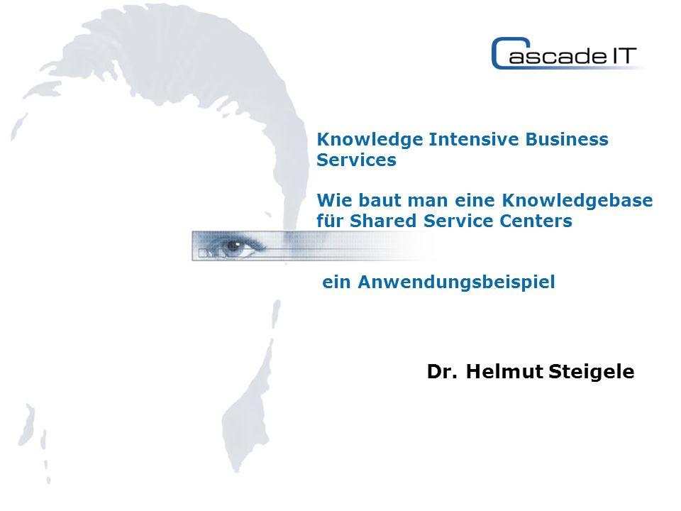 Knowledge Intensive Business Services Wie baut man eine Knowledgebase für Shared Service Centers ein Anwendungsbeispiel