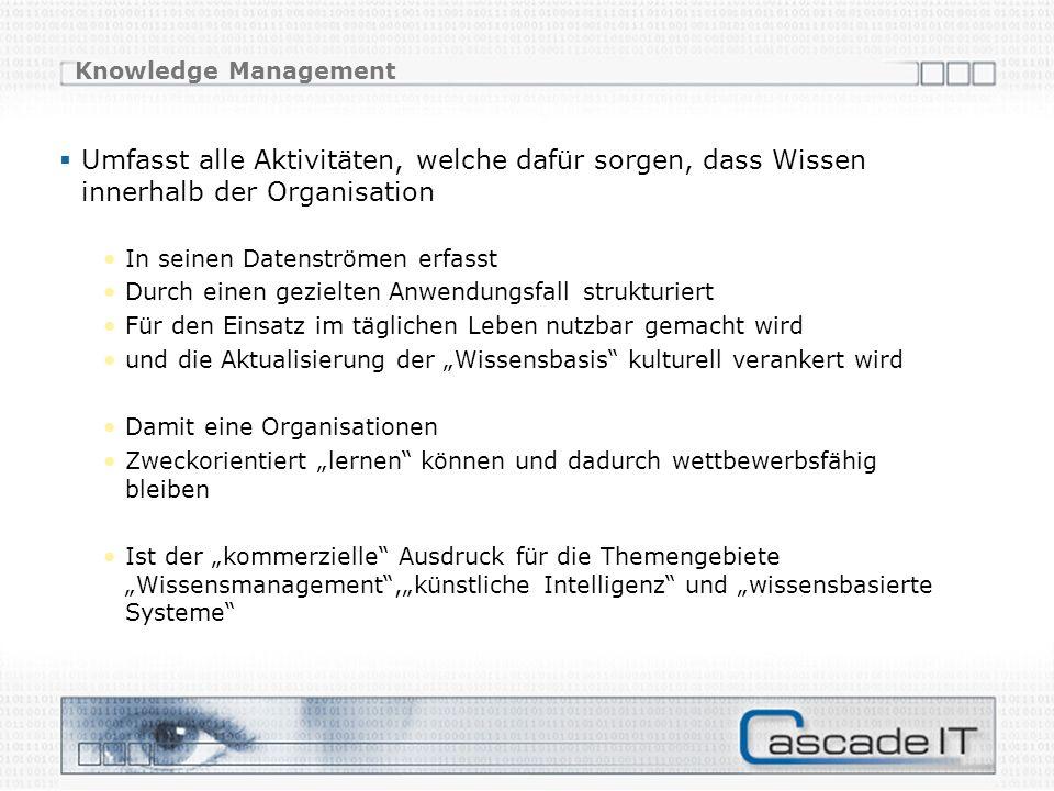 Knowledge Management Umfasst alle Aktivitäten, welche dafür sorgen, dass Wissen innerhalb der Organisation.