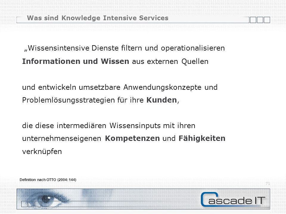 Was sind Knowledge Intensive Services