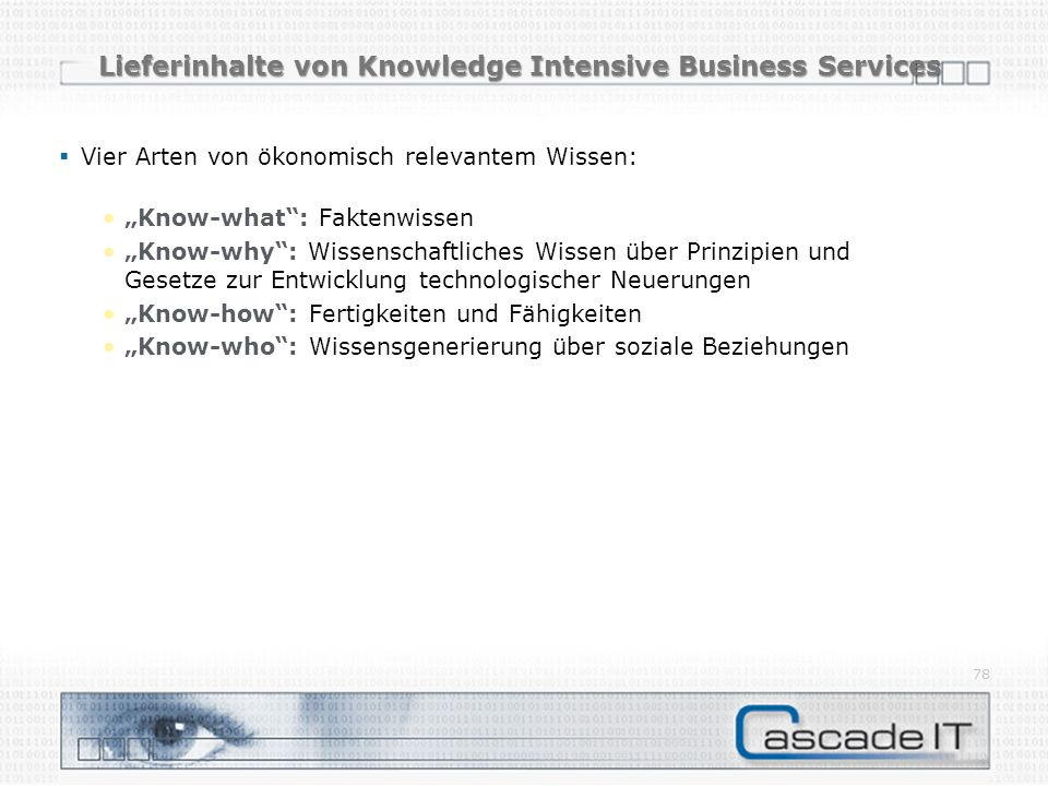 Lieferinhalte von Knowledge Intensive Business Services