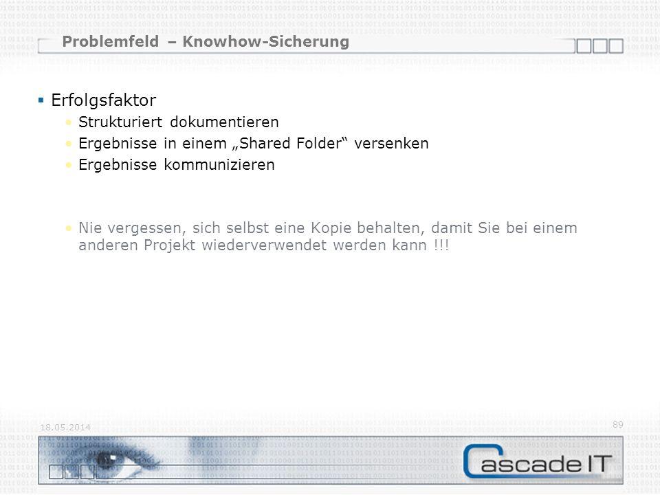 Problemfeld – Knowhow-Sicherung