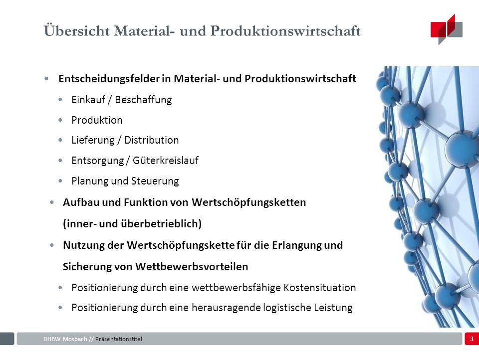 Übersicht Material- und Produktionswirtschaft