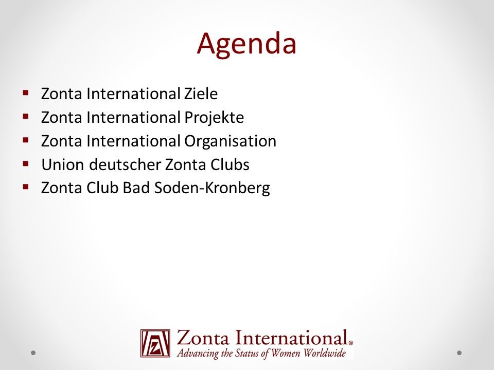 Agenda Zonta International Ziele Zonta International Projekte