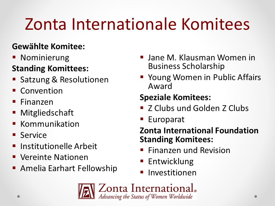 Zonta Internationale Komitees