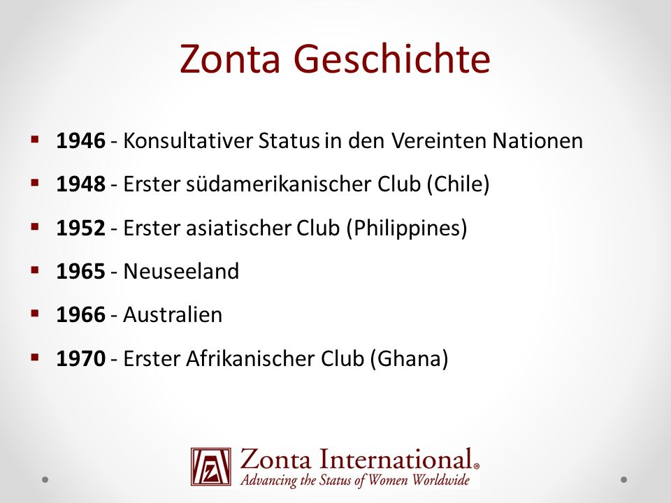 Zonta Geschichte 1946 - Konsultativer Status in den Vereinten Nationen