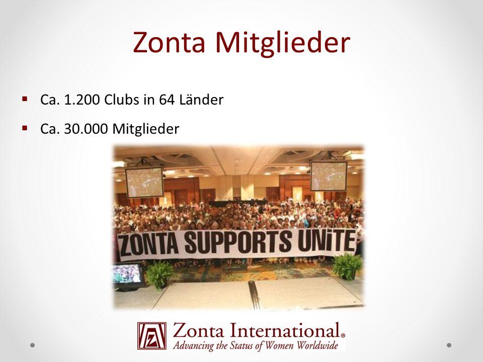 Zonta Mitglieder Ca. 1.200 Clubs in 64 Länder Ca. 30.000 Mitglieder