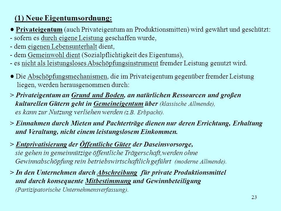 (1) Neue Eigentumsordnung: