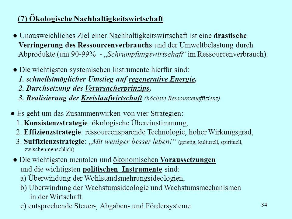 (7) Ökologische Nachhaltigkeitswirtschaft