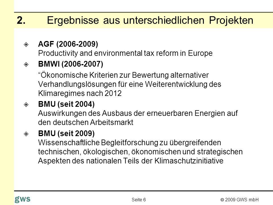 2. Ergebnisse aus unterschiedlichen Projekten
