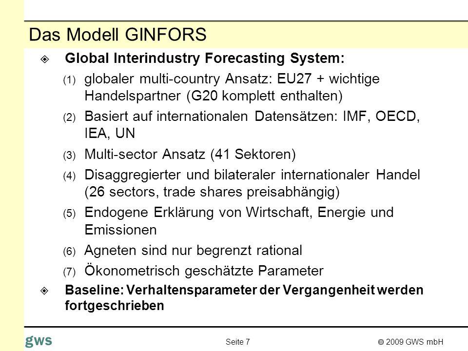 Das Modell GINFORS Global Interindustry Forecasting System: