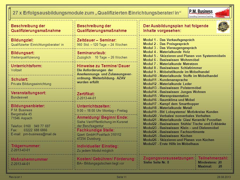 """27 x Erfolgsausbildungsmodule zum """"Qualifizierten Einrichtungsberater/ in"""