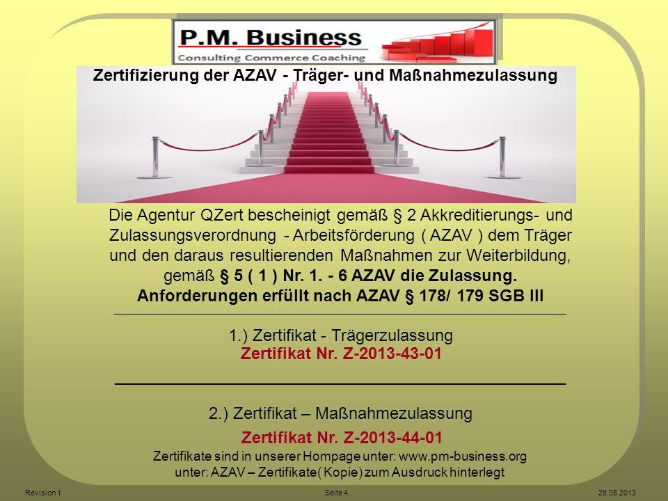 Anforderungen erfüllt nach AZAV § 178/ 179 SGB III