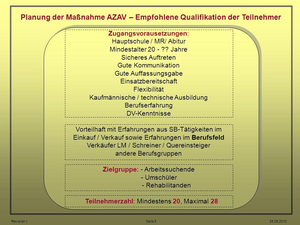 Planung der Maßnahme AZAV – Empfohlene Qualifikation der Teilnehmer
