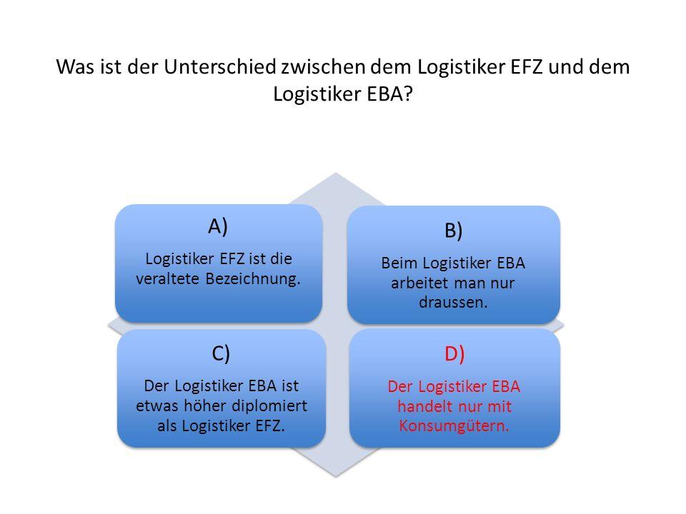 Was ist der Unterschied zwischen dem Logistiker EFZ und dem Logistiker EBA