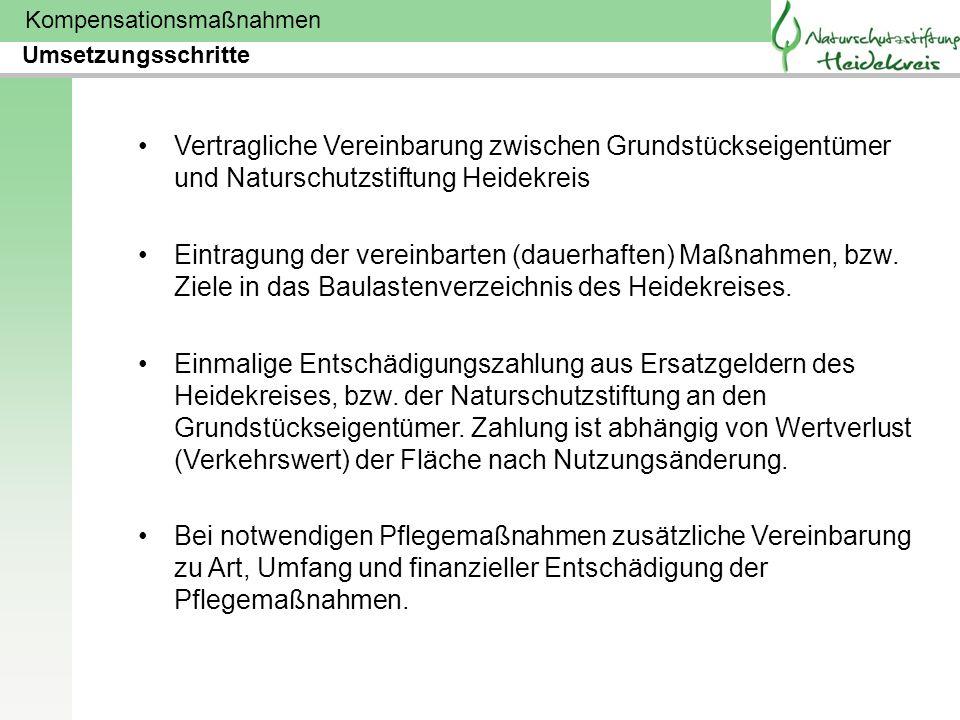 Umsetzungsschritte Vertragliche Vereinbarung zwischen Grundstückseigentümer und Naturschutzstiftung Heidekreis.