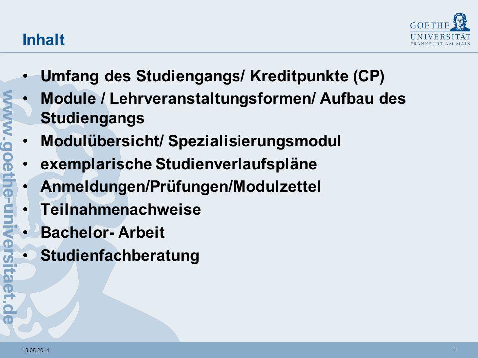 Umfang des Studiums / Kreditpunkte (CP)