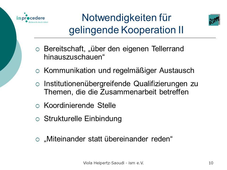 Notwendigkeiten für gelingende Kooperation II