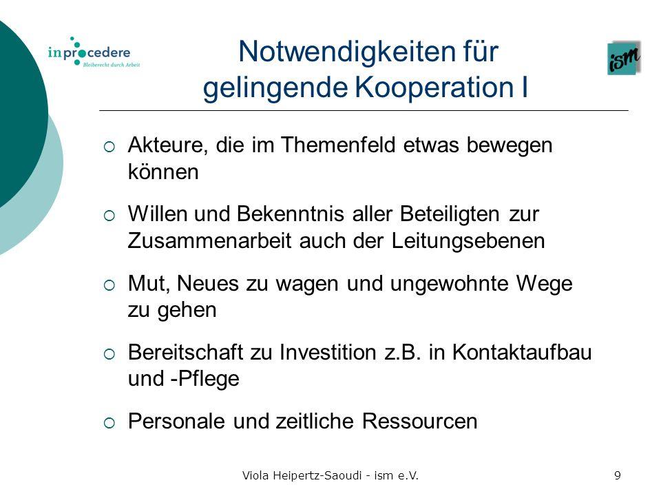 Notwendigkeiten für gelingende Kooperation I