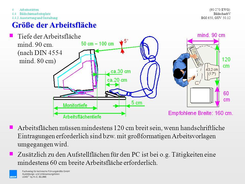 Größe der Arbeitsfläche