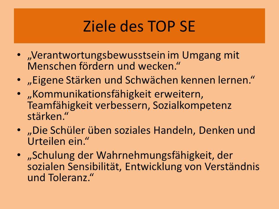 """Ziele des TOP SE """"Verantwortungsbewusstsein im Umgang mit Menschen fördern und wecken. """"Eigene Stärken und Schwächen kennen lernen."""