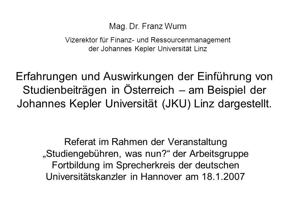 Mag. Dr. Franz Wurm Vizerektor für Finanz- und Ressourcenmanagement der Johannes Kepler Universität Linz.