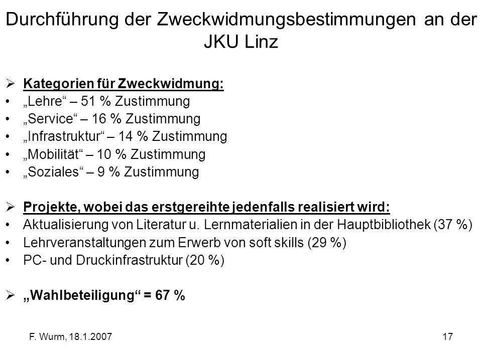 Durchführung der Zweckwidmungsbestimmungen an der JKU Linz