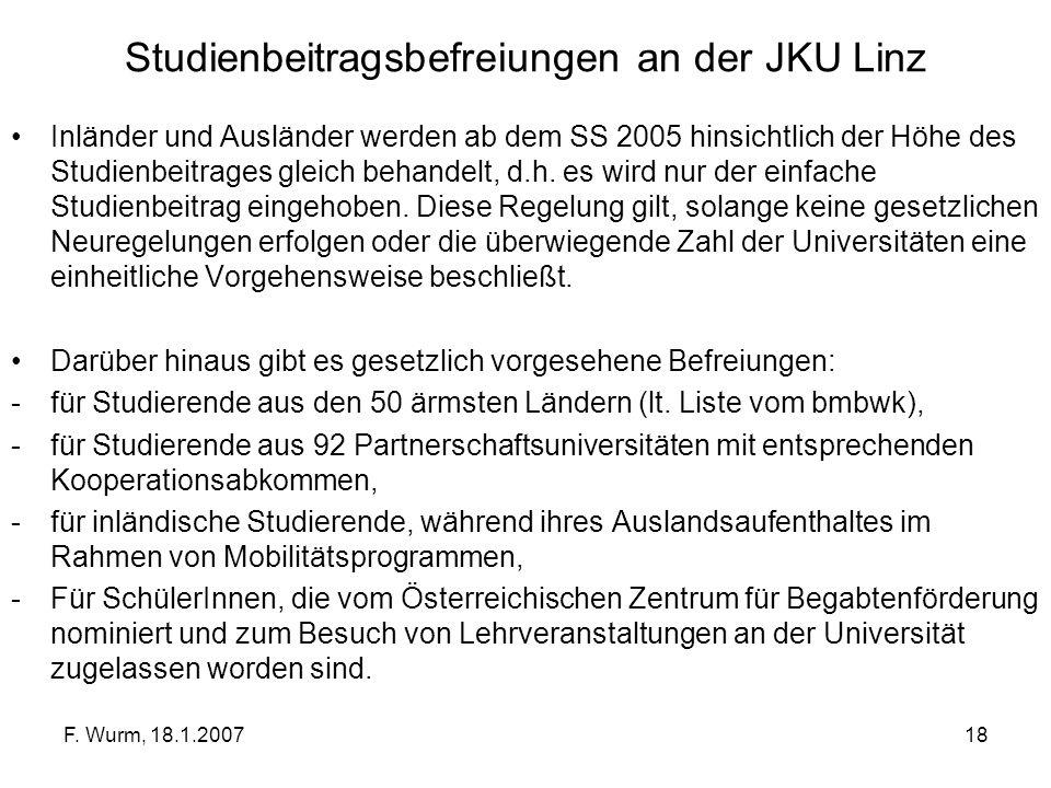 Studienbeitragsbefreiungen an der JKU Linz