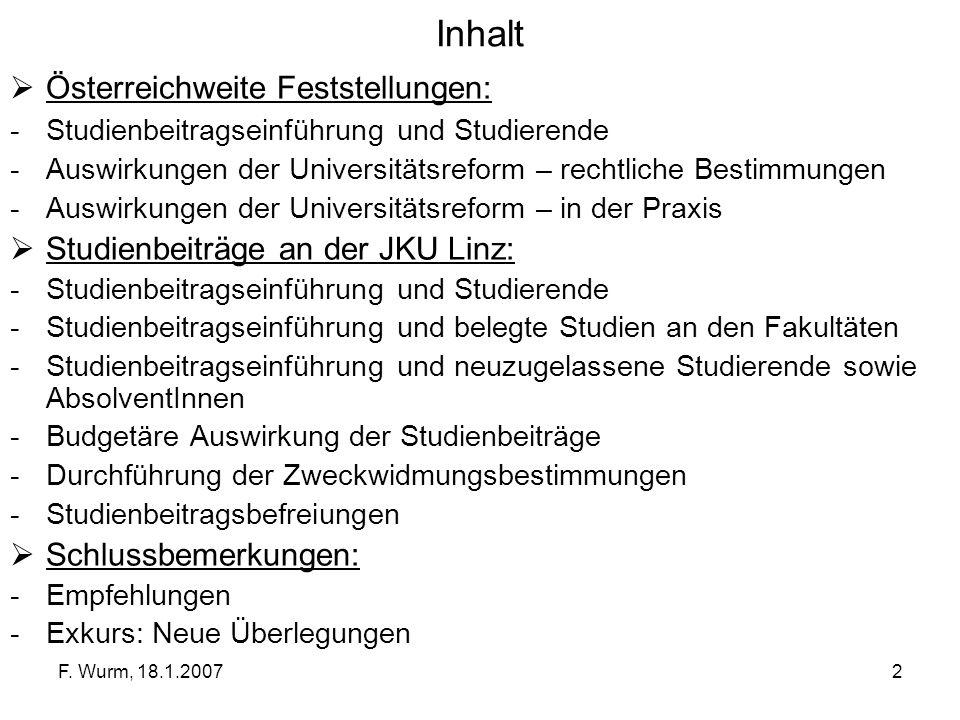 Inhalt Österreichweite Feststellungen: