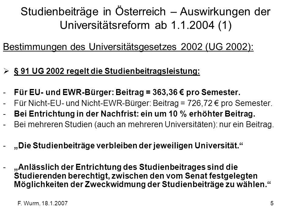 Studienbeiträge in Österreich – Auswirkungen der Universitätsreform ab 1.1.2004 (1)