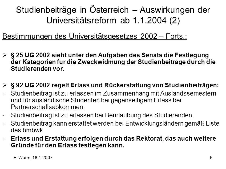 Studienbeiträge in Österreich – Auswirkungen der Universitätsreform ab 1.1.2004 (2)