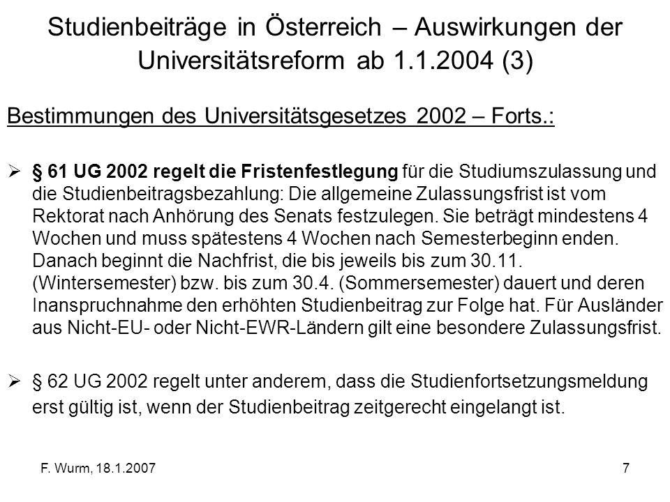 Studienbeiträge in Österreich – Auswirkungen der Universitätsreform ab 1.1.2004 (3)