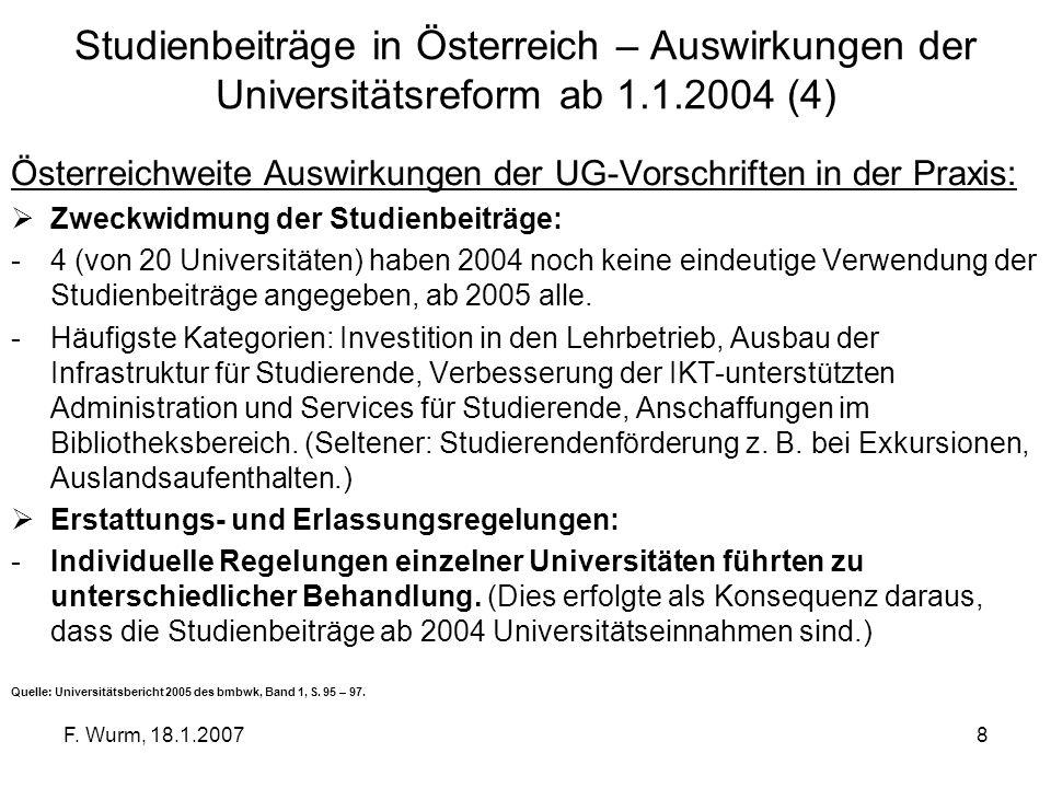 Studienbeiträge in Österreich – Auswirkungen der Universitätsreform ab 1.1.2004 (4)