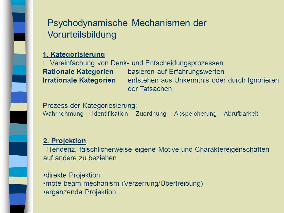 Psychodynamische Mechanismen der Vorurteilsbildung