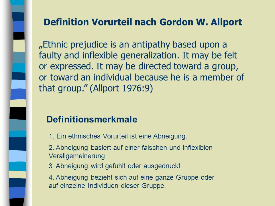 Definition Vorurteil nach Gordon W. Allport