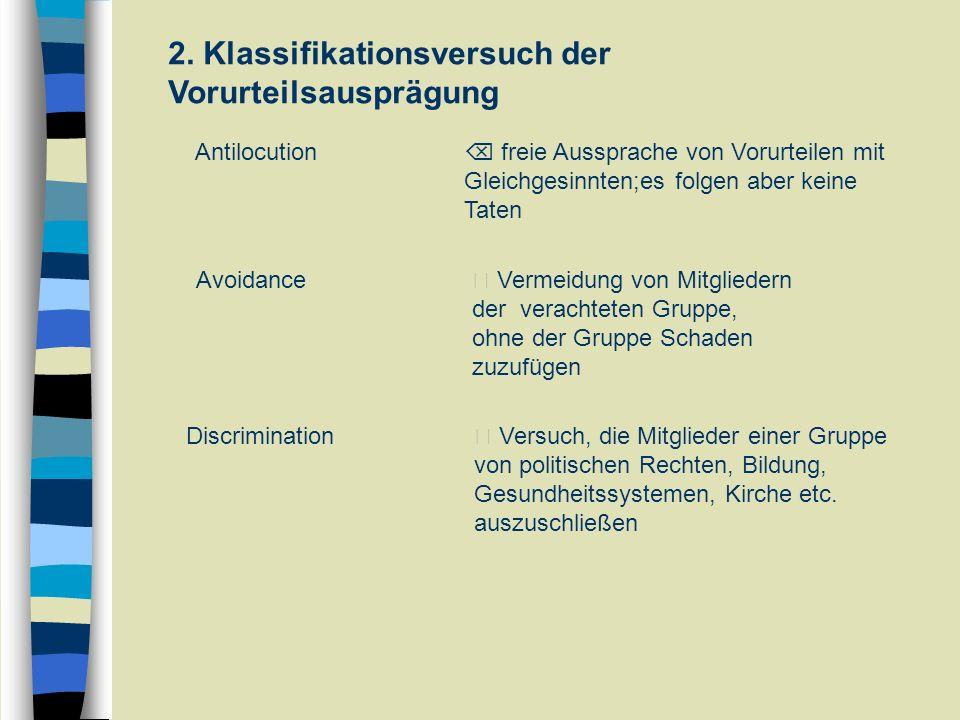 2. Klassifikationsversuch der Vorurteilsausprägung