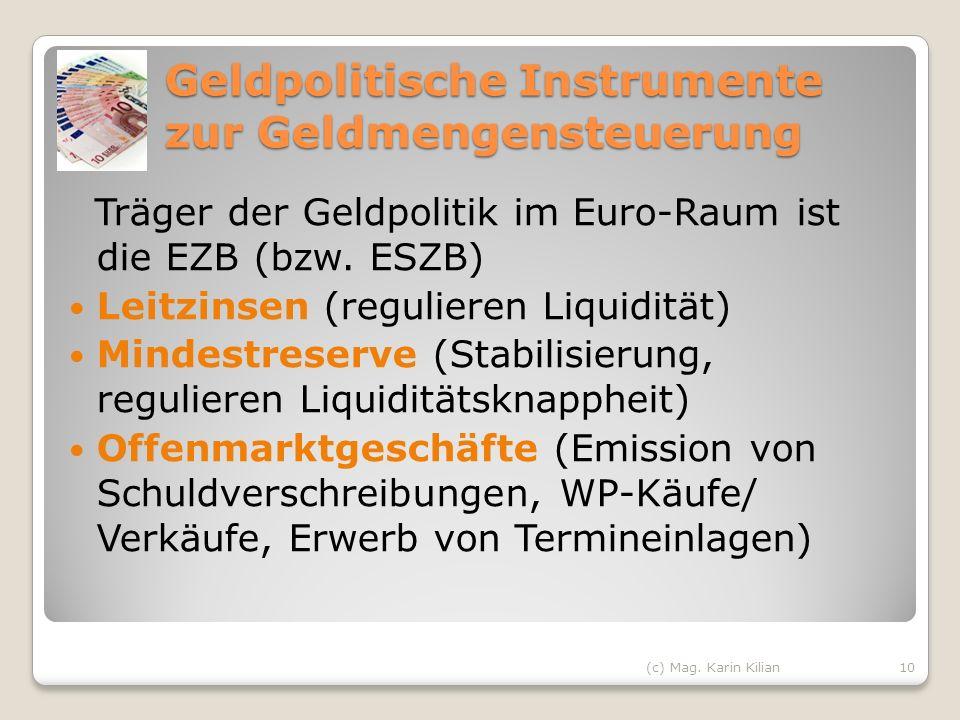 Geldpolitische Instrumente zur Geldmengensteuerung